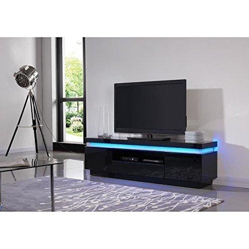 Flash meuble tv laqué noir 165cm avec leds multicolores