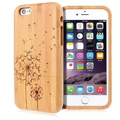 GrandEver Hand Natürliche Bambusholz Fest Schutzhülle Hard Case für iPhone 6 6S Plus (5.5') Case Cover Shell Telefon Schutzhülle Etui Handy Tasche Hülle für iPhone 6 6S Plus (5.5') (Löwenzahn) Löwenzahn