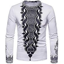 Naturazy Camiseta Manga Larga Estampada Africana 3D OtoñO Hombres del Tops Cuello Redondo Estampado éTnico Moda