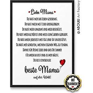 Beste Mama ABOUKI Kunstdruck Poster Bild Geschenk-Idee Mutter Muttertag Geburtstag Weihnachten mit schwarzem Holz-Rahmen…