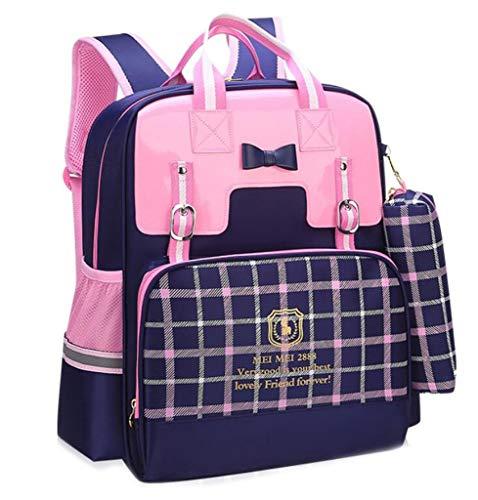 (BAOBAOGG Rucksack Wasserdichte Tasche weiblich 3-6 Klasse leichte Schultertasche primären Schulrucksack (Farbe : Blau, größe : OneSize))