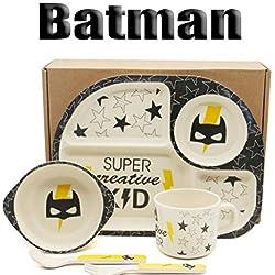 Set de vajilla de bambú para niños Batman hero 5 piezas de vajilla Cubiertos Cocina para niños Orgánico 5 piezas de Batman Set de vajilla de bambú Cubiertos para niños Ecológico Juguetes
