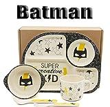 Gear.Extreme Set di stoviglie in bambù per Bambini 5 Pezzi, Motivo: Batman 100% Ecologico Lavabile in lavastoviglie Servizio da tavola Ciotola per Cereali muesli Bicchiere Piatti