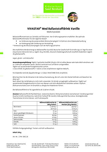 VIVASTAR® Med Ballaststoffdrink Vanille, laktosefrei, glutenfrei, vegan, Inhalt 550 g