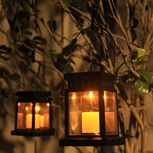 Vintage Solar Laterne mit LED Kerze Windlicht Laterne hängelaterne tischeleuchte für Außen balkon Gartendeko Hof Party Wand Tisch Baum inkl. Clip - Warmweiß - Wachs Lampenschirm