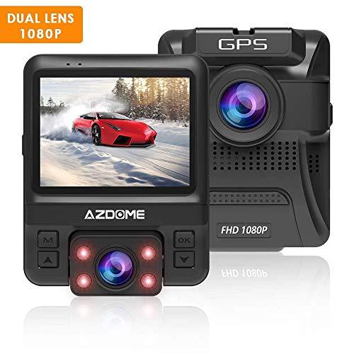 AZDOME 1080P FHD GPS Dashcam mit Dual Lens, WDR, 170° Weitwinkelobjektiv, Super Nachtsicht, Loop-Aufnahme, G-Sensor, Parkmonitor, Bewegungserkennung[1080P Vorne, 720P Hinten]