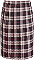 Womens Tartan Check Printed Ladies Stretch Box Pleated Elasticated Waistband Long Skirt Plus Size