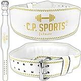 C.P. Sports Lady-Gürtel Leder - weiß Gold Gewichthebergürtel Bodybuilding Fitness...