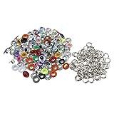 MagiDeal 100 Stück Metall Bunte Runde Ösen/Eyelets / Nieten gemischte Farben - wie Bild, 3mm