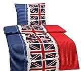 4 tlg. Bettwäsche England Flagge 135 x 200 cm in weiß/blau aus Microfaser