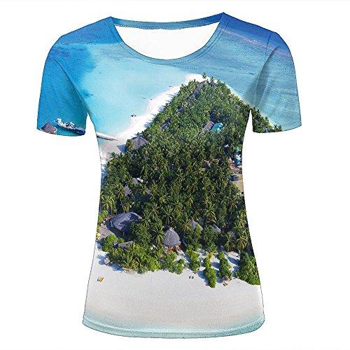 WEIYI BO Women T-Shirt 3D Digital Pinted Exotic Island Beach Boat Crewneck Casual Tee Shirt Tops M (Crewneck Lady Fit T-shirt)