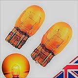 2 Leuchtmittel in bernsteinfarbenem Orange, Seitenleuchten für Scheinwerferlampen, T20 7443 580 W21/5W, Tagfahrlicht, Halogen, 6000K (1 Paar)