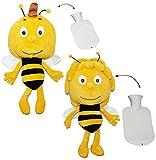 alles-meine.de GmbH XL Set _ 2 Stück Kuscheltiere incl. Wärmeflasche -  die Biene Maja & Willi  - mit Plüsch Bezug - Wärmflasche - wärmen + kühlen - Kinderwärmflasche - Wärmeki..