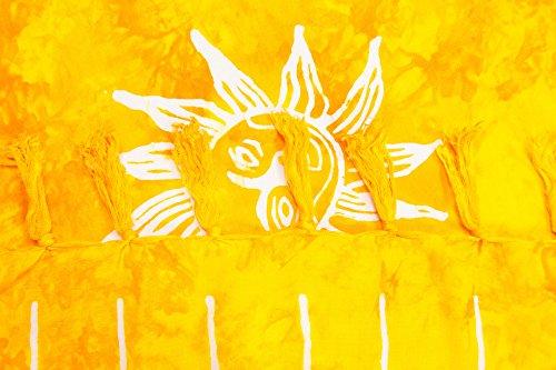 ManuMar Donna sarong   Pareo telo mare   leggero per telo fasciatoio con frange nappe Gelb Sonne
