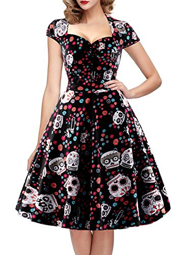 Halloween Kostüme Ball Kleid (OTEN Damen Vintage Floral Zucker Sch?del Print Sommer Party)