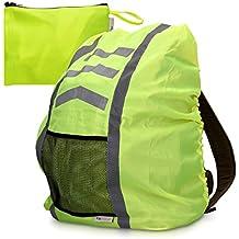 kwmobile coprizaino impermeabile per zaino borsa - copertura copri zaino antipioggia 64x75cm - custodia protettiva catarifrangente - giallo neon