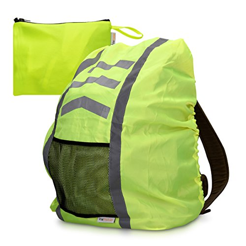 kwmobile Rucksacküberzug Neon Gelb / Sicherheitshülle reflektierend wasserabweisend / 65 x 75 cm Regenschutz mit Tasche für Straßenverkehr Schulweg Kinder Fahrrad Outdoor Sport - DIN EN471