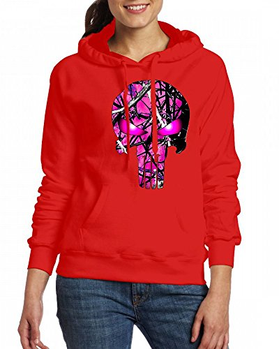 Hot pink camo skull Womens Hoodie Fleece Custom Sweartshirts Red