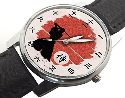 Kenjutsu medievale samurai stampa giapponese kanji quadrante simbolico crimson rising sun pergamena art collectible orologio da polso