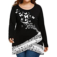 KaloryWee Womens Lace Long Sleeve Fashion Summer Casual T-Shirt Lady Plus Size Blouse Tops