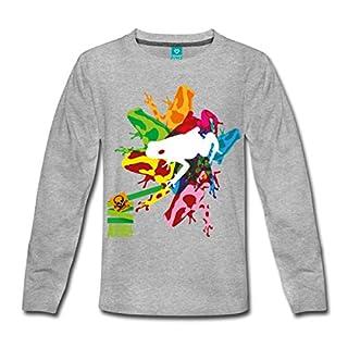 Spreadshirt Pfeilgiftfrosch Bunt Animal Planet Teenager Premium Langarmshirt, 146/152 (10 Jahre), Grau meliert