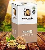 Brotbackmischung Bio Walnuss in the Box glutenfrei, Walnussbrot, 1er Box, vegan, Brot Backmischung zum selber backen im Brotbackautomat oder Backofen (1 x 635 g für 1,2 kg glutenfreien Brotteig)