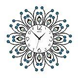 Wall Clock-YY TGG Dekoration Wanduhr, Schlafzimmer Runde Feder Uhr Restaurant Kunst Acryl Strass Tanz Studio Quarzuhr 40-53CM Wanduhr