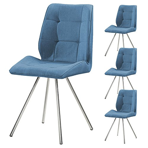 4er Set SVITA Esszimmer-Stuhl Stoffbezug Wohnzimmerstuhl Retro-Design gepolstert Farbwahl