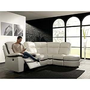 Concept-Usine Monica : canapé dangle en simili blanc 5 places relax électrique