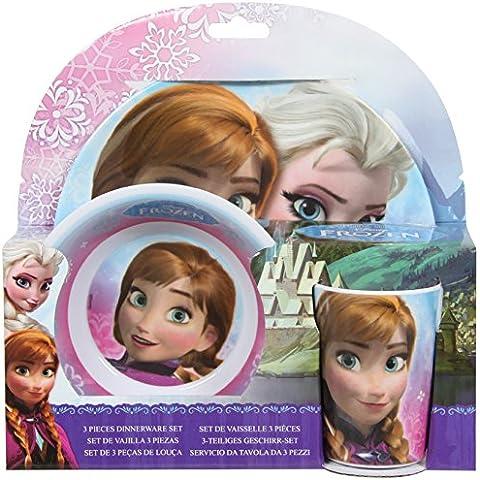 Frozen - Vajilla 3 Piezas - Set Desayuno Frozen Elsa y Ana, Juguete Hogar A partir de 4 años Primera infancia