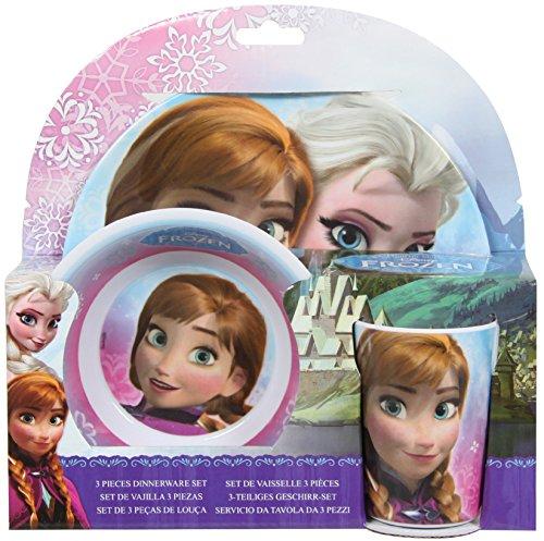 Disney Frozen 755790 - Melamin Set, 3-teilig, 2 Teller und 1 Becher, 27 x 7 x 28 cm (Geburtstag Frozen Ideen)