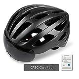 KINGLEAD Bike Helm mit Licht und Shield Visier, CE Zertifiziert Unisex, Verstellbar Fahrrad Helm