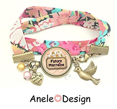 Bracelet liberty Future Marraine cœur marron rose