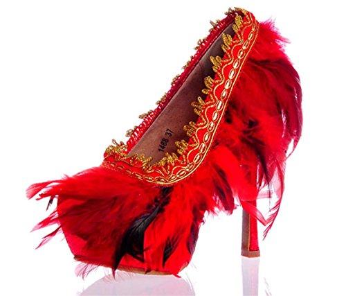 Kitzen Frauen Geschlossen Pointedred Rote Feder-Zehe-Stilett-Absatz FüR Brautkleider Pumps, 37