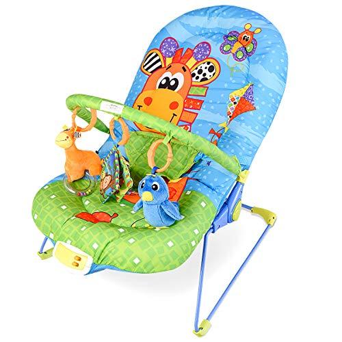 *DREAMADE Babywippe mit Musik und Vibration, Babywiege Schaukelwippe Baby Schaukel verstellbar, Babyliegestuhl Baby Schlafkorb Babysitz, max.11 kg beslatbar (Blau)*