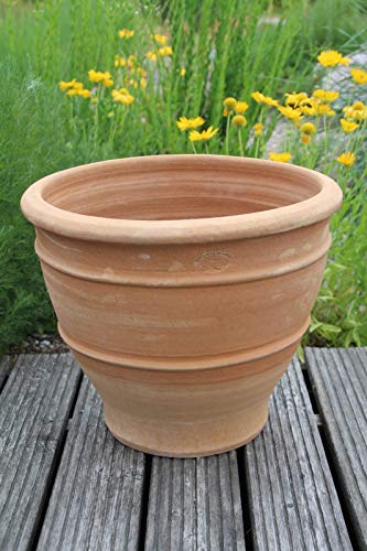 Kreta-Keramik, frostfester handgefertigter Terracotta Topf, Blumentopf, 50 cm groß, Ton Keramik für Außen Garten Terrasse Balkon Deko, Buxus