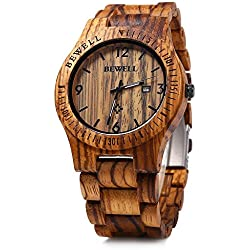 GBlife BEWELL ZS - W086B Mens Wooden Watch Analog Quartz Movement with Date Display Retro Style(zebra wood)