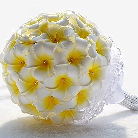 Winhappyhome Handmade simulazione Plumeria Wedding Bouquet da sposa azienda fiori Yellow White
