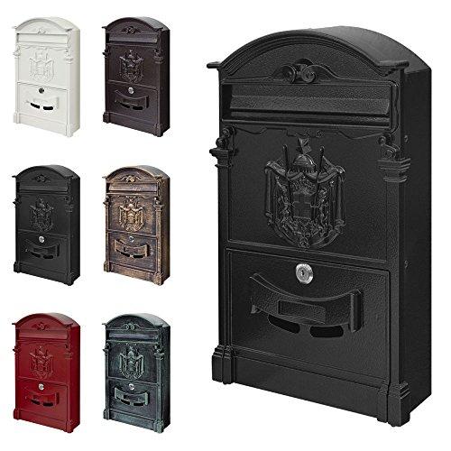 V2aox Retro Antik Nostalgie Vintage Briefkasten Postkasten Wandbriefkasten 6 Farben, Farbe:Schwarz
