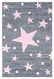 Livone Kinderteppich Happy Rugs Stars Silbergrau/rosa 200 x 300 cm