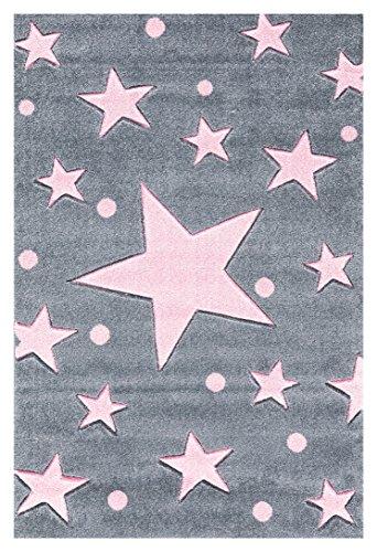 Livone Hochwertiger Kinderteppich Babyteppich Kinderzimmer Spielteppich Sterne Punkte in Silbergrau rosa Größe 120 x 180 cm
