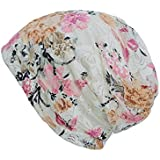 Voberry@ Women's Muslim Stretch Turban Hat Soft Cotton Lace Floral Print Head Scarf Wrap
