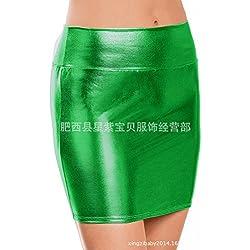 Cuerpo beautificationmoulding cadera ajustada minifalda de cuero,Verde