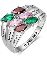 Lam Hub Fong Personalized Mothers Rings with 6 Simulated Birthstones for 6 Mothers Day Family Name Rings