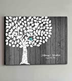 Leinwandbild als Gästebuch-Alternative, Rustikales Baum-Design mit zwei Vögelchen, Hochzeits-Gästebuch-Alternative, personalisierbar, Holzrahmen