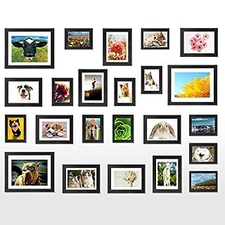 Voilamart 23er Set Rahmen Bilderrahmen mit Kunststoff Bildabdeckung Foto hängende Anzeige Wanddekoration Fotorahmen Collage,Verschiedene Größe (Schwarz)
