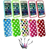 Emartbuy ® Apple Iphone 5c - Bundle von 5 Metallic Mini Eingabestift + Bundle Pack of 5 Polka Dots Gel Skin Cover / Schutzhülle Hot Pink / Weiß, Rot / Weiß, Blau / Weiß, Grün / Weiß & Multi-Coloured