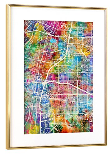 Albuquerque New Mexico Street (artboxONE Poster mit Rahmen Gold 45x30 cm Albuquerque New Mexico City Street Map von Michael Tompsett)