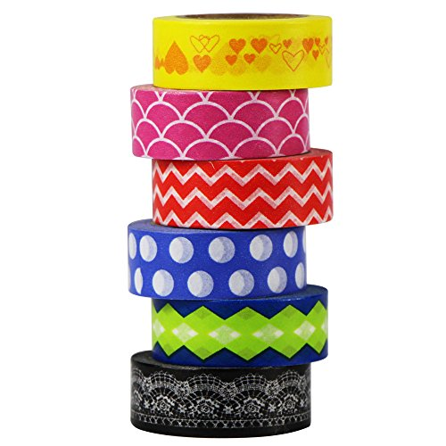 EDGEAM 6er / Set Washi Tape Masking Band Klebeband Dekorative Scrapbooking DIY Deko 15MM x 8M (A-1) Baby-chevron Band