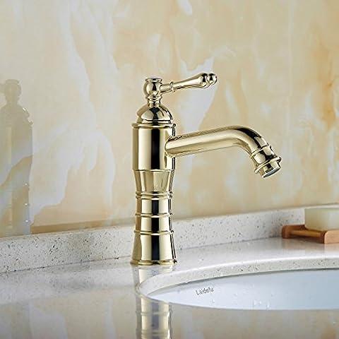 YanCui@ Rubinetto europeo zinco lucido in lega oro strisce semplice singolo miscelatore monocomando monoforo lavabo/lavandino